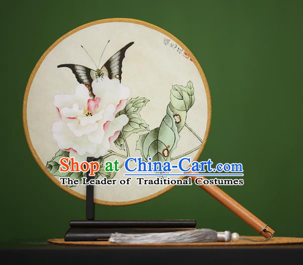 Traditional Chinese Crafts Painting Butterfly Flowers Rosewood Round Fan, China Palace Fans Princess Silk Circular Fans for Women