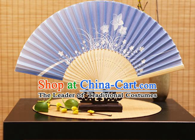 Traditional Chinese Crafts Folding Fans Printing Orchid Blue Silk Fan for Women