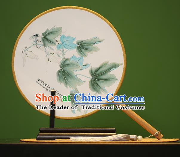 Traditional Chinese Crafts Painting Leaf Rosewood Round Fan, China Palace Fans Princess Silk Circular Fans for Women