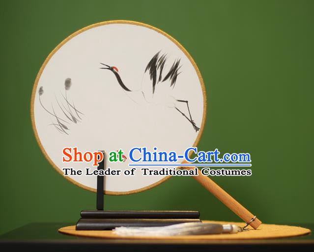 Traditional Chinese Crafts Ink Painting Crane Rosewood Round Fan, China Palace Fans Princess Silk Circular Fans for Women