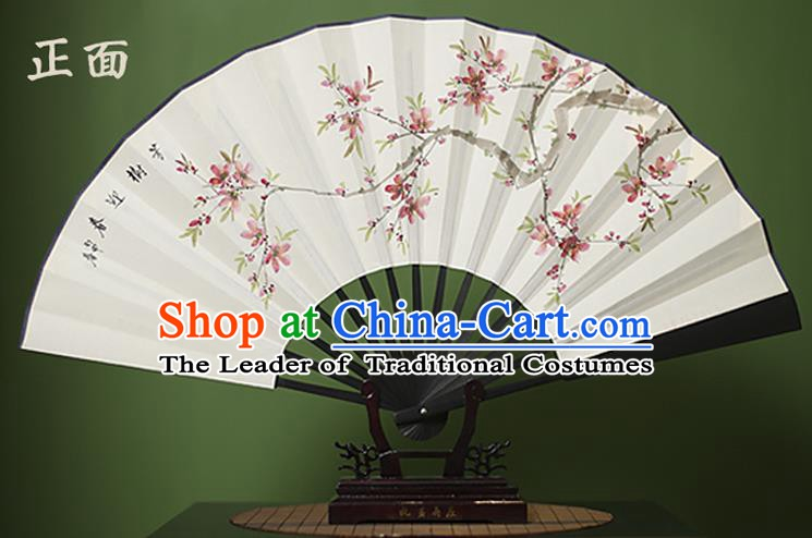 Traditional Chinese Crafts Printing Peach Blossom White Folding Fan Paper Fans for Women
