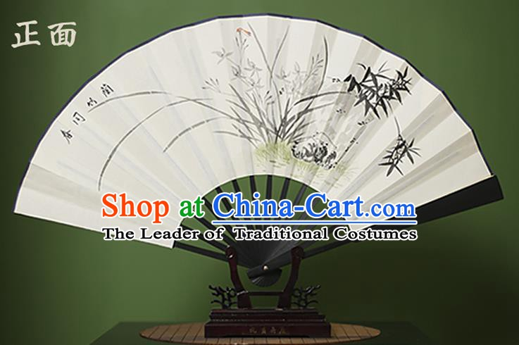 Traditional Chinese Crafts Ink Painting Orchid Bamboo White Folding Fan Paper Fans for Women