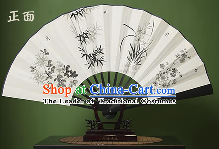 Traditional Chinese Crafts Ink Painting Plum Blossom Orchid Bamboo and Chrysanthemum Folding Fan Paper Fans for Women