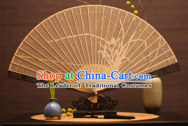 Traditional Chinese Crafts Sandalwood Orchid Folding Fan Sandal Fans for Women