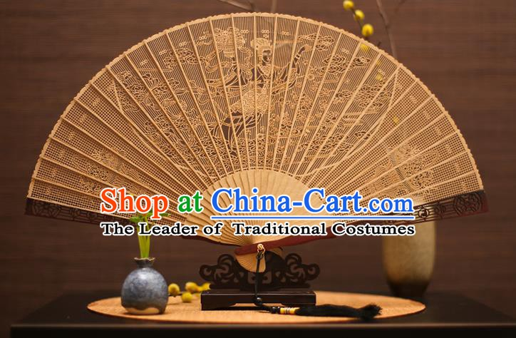 Traditional Chinese Crafts Sandalwood Fairy Folding Fan Sandal Fans for Women