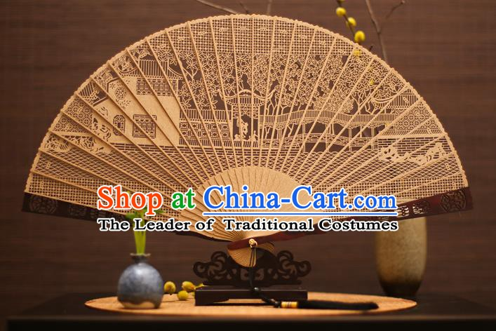 Traditional Chinese Crafts Sandalwood Courtyard Folding Fan Sandal Fans for Women