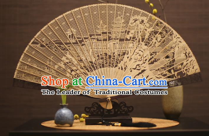 Traditional Chinese Crafts Sandalwood Tower Folding Fan Sandal Fans for Women