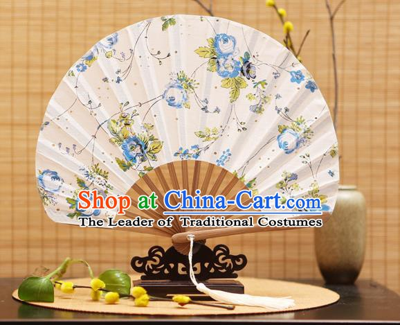 Traditional Chinese Crafts Shell Silk Folding Fan Ink Painting Blue Flowers Bamboo Fans for Women