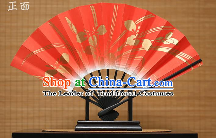 Traditional Chinese Crafts Printing Orchid Red Paper Folding Fan Sensu Fans for Women
