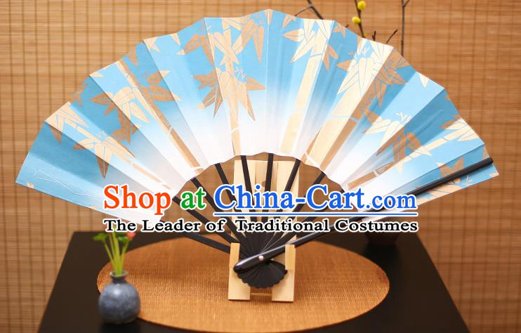 Traditional Chinese Crafts Printing Bamboo Blue Paper Folding Fan Sensu Fans for Women