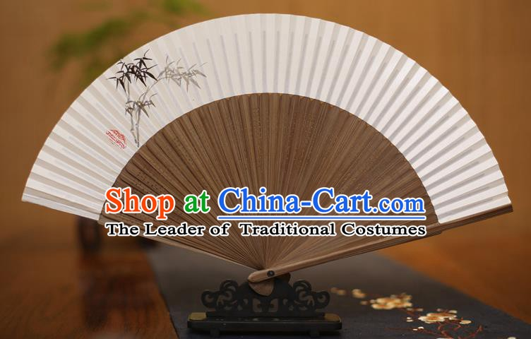 Traditional Chinese Crafts Printing Bamboo Folding Fan Paper Fans for Men