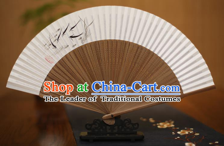 Traditional Chinese Crafts Printing Fish Folding Fan Paper Fans for Men