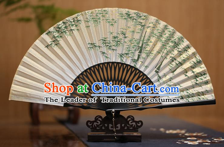 Traditional Chinese Crafts Ink Painting Green Bamboo Folding Fan Paper Fans for Men