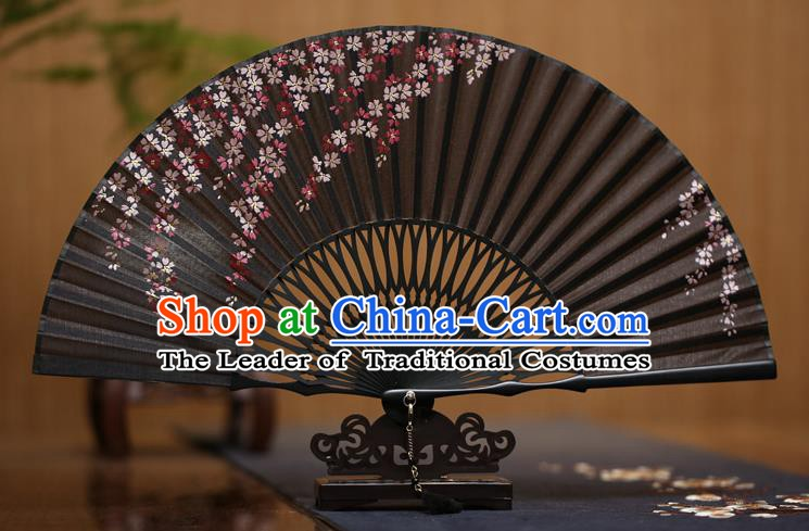 Traditional Chinese Crafts Printing Oriental Cherry Black Folding Fan Paper Fans for Men