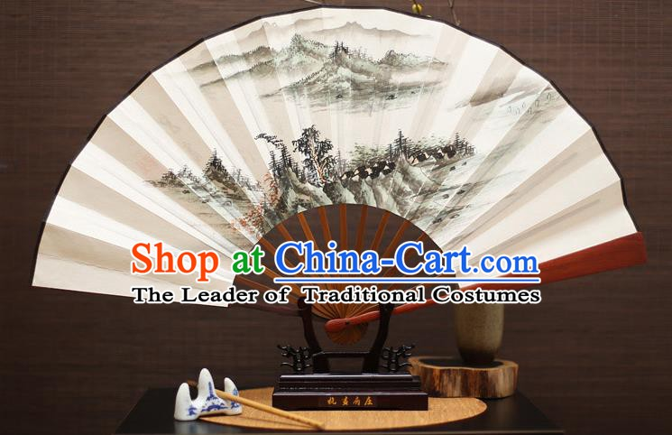 Traditional Chinese Crafts Landscape Painting Folding Fan Paper Fans for Men