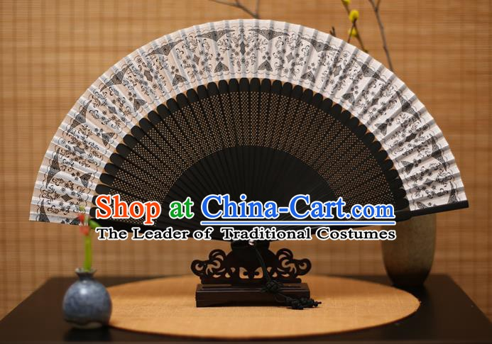 Traditional Chinese Crafts Black Silk Folding Fan Sensu Fans for Women