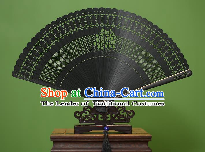 Traditional Chinese Crafts Black Folding Fan Hollow Out Peony Bamboo Fans for Women