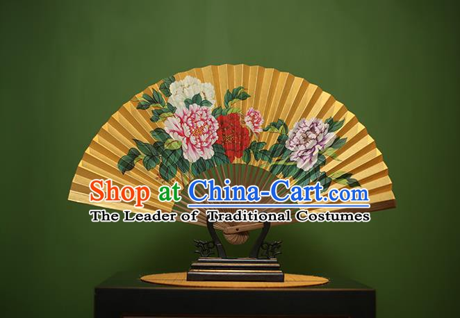 Traditional Chinese Crafts Printing Peony Folding Fan, China Beijing Opera Paper Fans for Men