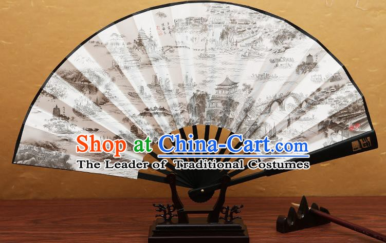 Traditional Chinese Crafts Printing Beijing-Hangzhou Grand Canal Folding Fan, China Beijing Opera Paper Fans for Men