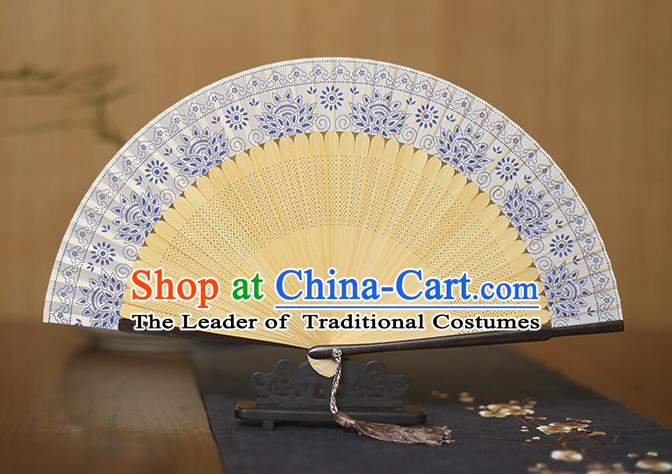 Traditional Chinese Crafts Blue and White Porcelain Silk Folding Fan Sensu Fans for Women