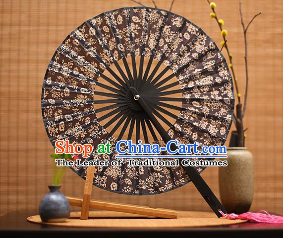 Traditional Chinese Crafts Printing Black Silk Folding Fan, China Beijing Opera Round Fans for Women