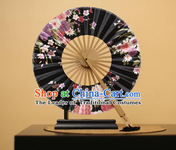Traditional Chinese Crafts Printing Flowers Black Silk Folding Fan, China Beijing Opera Round Fans for Women
