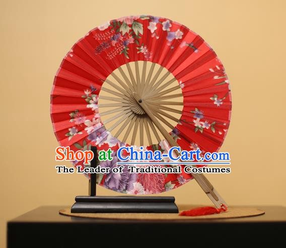 Traditional Chinese Crafts Printing Flowers Red Silk Folding Fan, China Beijing Opera Round Fans for Women