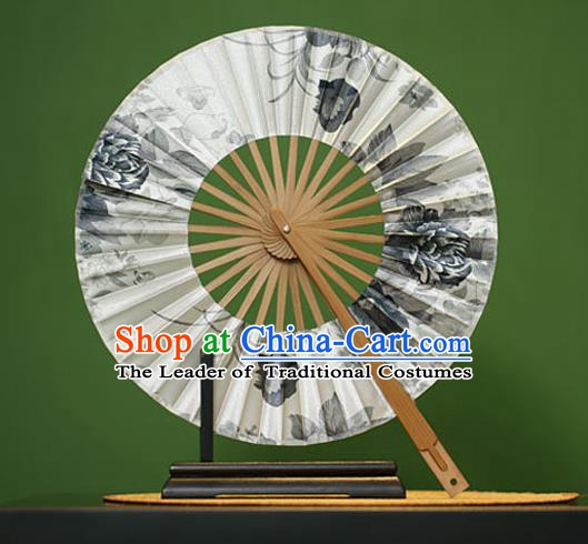 Traditional Chinese Crafts Ink Painting Flowers White Silk Folding Fan, China Beijing Opera Round Fans for Women