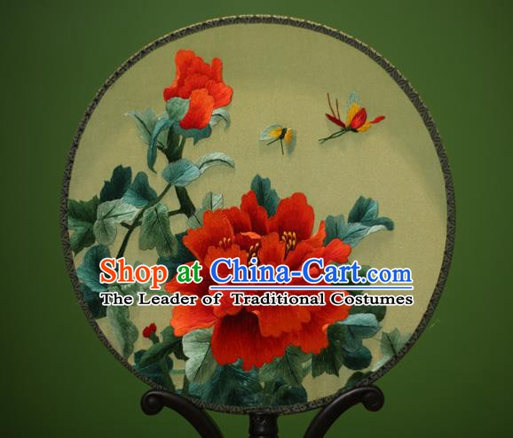 Traditional Chinese Crafts Embroidered Red Peony Round Fan, China Palace Fans Princess Silk Circular Fans for Women