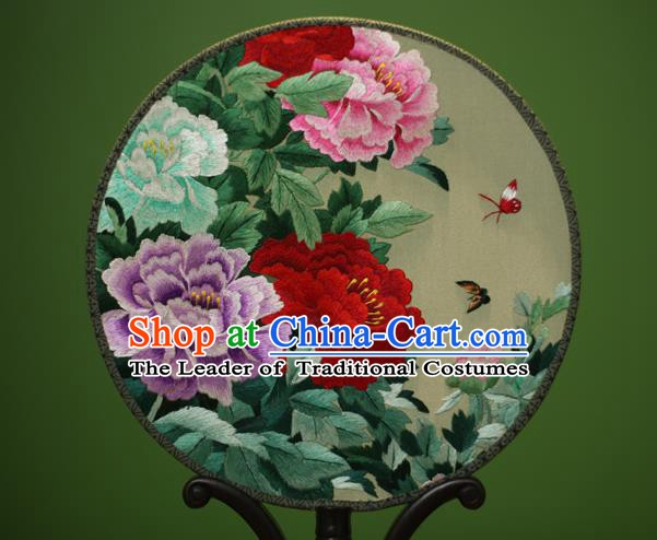 Traditional Chinese Crafts Embroidered Peony Flowers Round Fan, China Palace Fans Princess Silk Circular Fans for Women