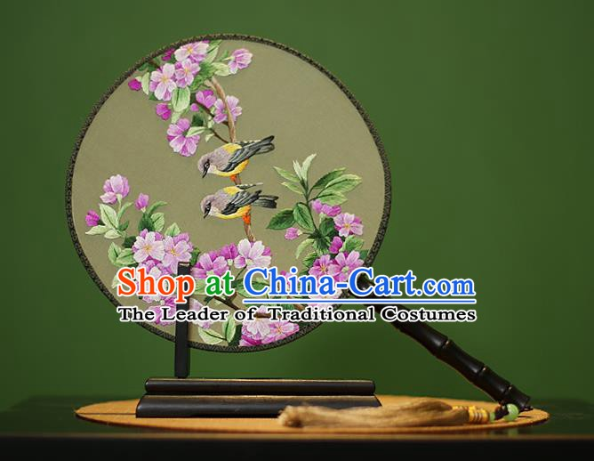 Traditional Chinese Crafts Embroidered Peach Blossom Round Fan, China Palace Fans Princess Silk Circular Fans for Women