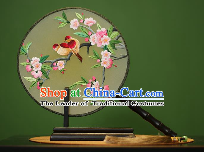 Traditional Chinese Crafts Embroidered Birds Flowers Round Fan, China Palace Fans Princess Silk Circular Fans for Women