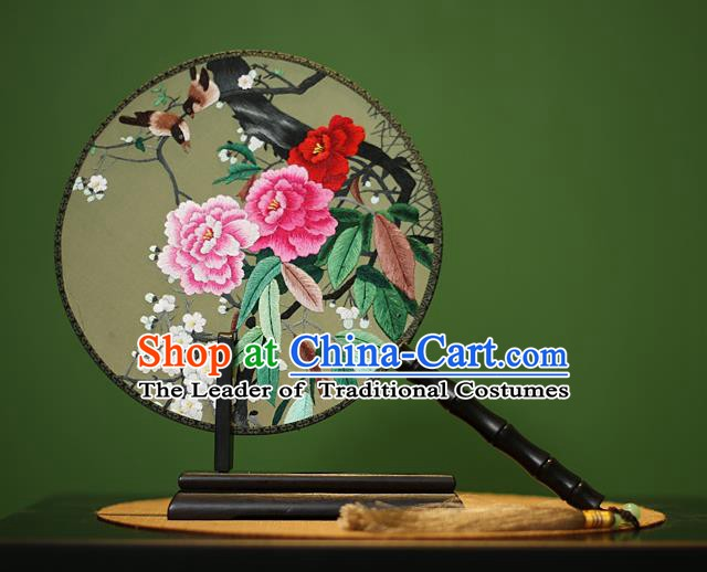 Traditional Chinese Crafts Embroidered Birds Peony Round Fan, China Palace Fans Princess Silk Circular Fans for Women