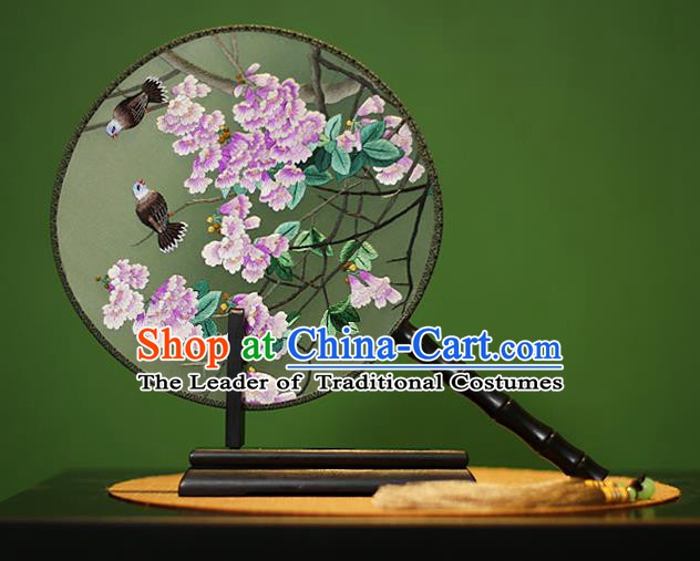 Traditional Chinese Crafts Embroidered Flowers Round Fan, China Palace Fans Princess Silk Circular Fans for Women