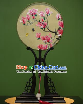 Traditional Chinese Crafts Embroidered Red Magnolia Round Fan, China Palace Fans Princess Silk Circular Fans for Women