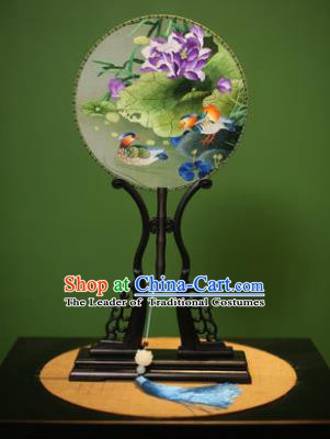 Traditional Chinese Crafts Embroidered Mandarin Duck Round Fan, China Palace Fans Princess Silk Circular Fans for Women