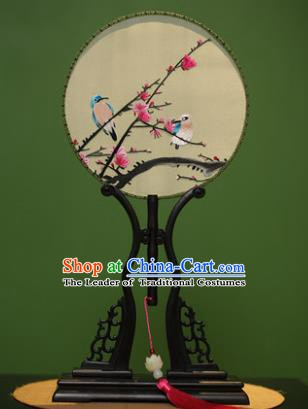 Traditional Chinese Crafts Embroidered Birds Round Fan, China Palace Fans Princess Silk Circular Fans for Women