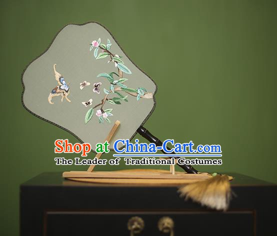 Traditional Chinese Crafts Embroidered Butterfly Silk Fan, China Palace Fans Princess Square Fans for Women