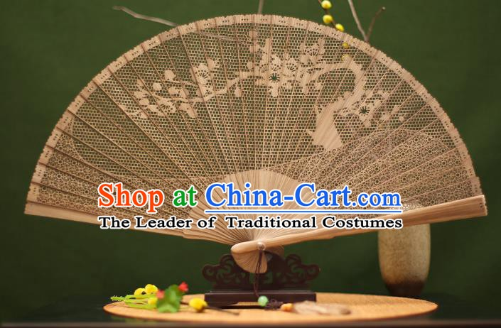 Traditional Chinese Crafts Sandalwood Folding Fan, Chinese Hollow Out Wintersweet Fans Bamboo Fans for Women