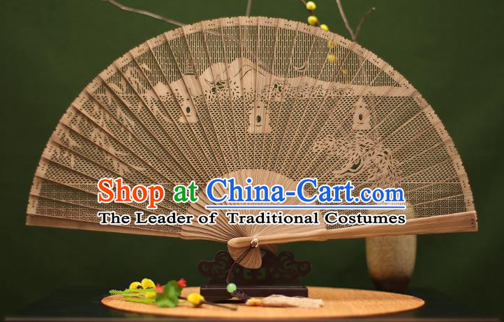 Traditional Chinese Crafts Sandalwood Folding Fan, Chinese Hollow Out West Lake Bamboo Fans for Women