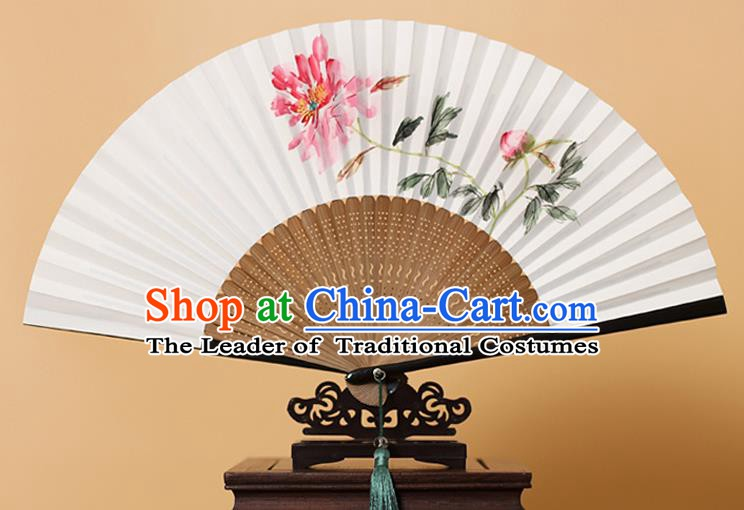 Traditional Chinese Crafts Ink Painting Peony Folding Fan, China Handmade Xuan Paper Fans for Men
