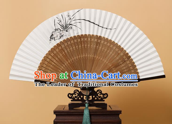 Traditional Chinese Crafts Hand Painting Orchid Folding Fan, China Handmade Xuan Paper Fans for Men