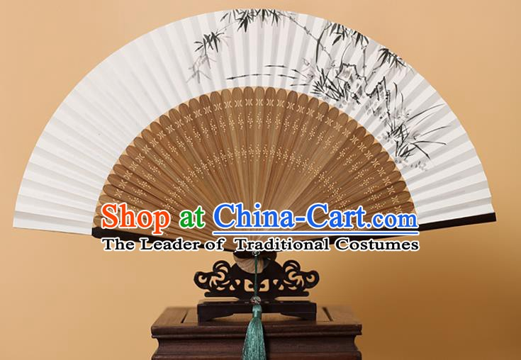 Traditional Chinese Crafts Hand Painting Bamboo Stone Folding Fan, China Handmade Xuan Paper Fans for Men