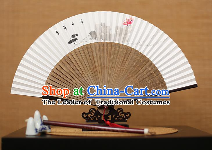 Traditional Chinese Crafts Hand Painting Lotus Folding Fan, China Handmade Xuan Paper Fans for Men