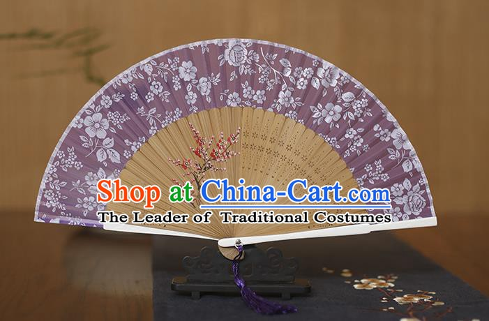 Traditional Chinese Crafts Folding Fan, China Printing Plum Blossom Purple Silk Fans for Women