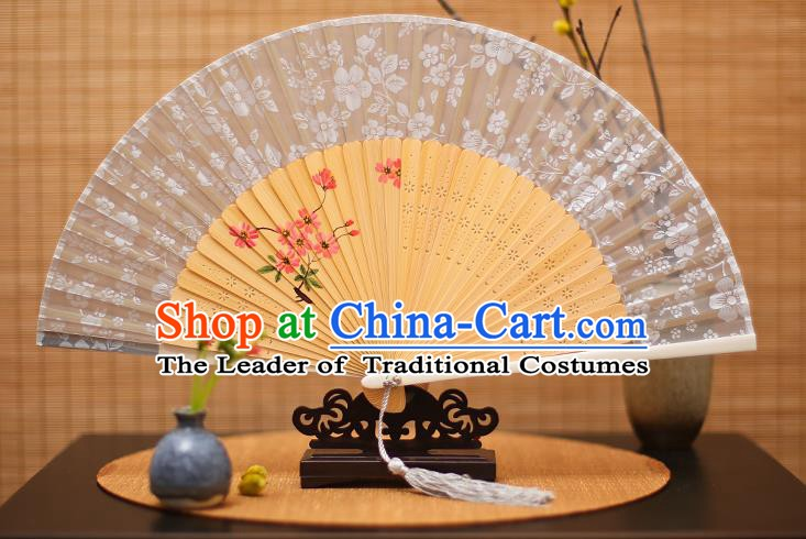 Traditional Chinese Crafts Folding Fan, China Printing Flowers White Silk Fans for Women
