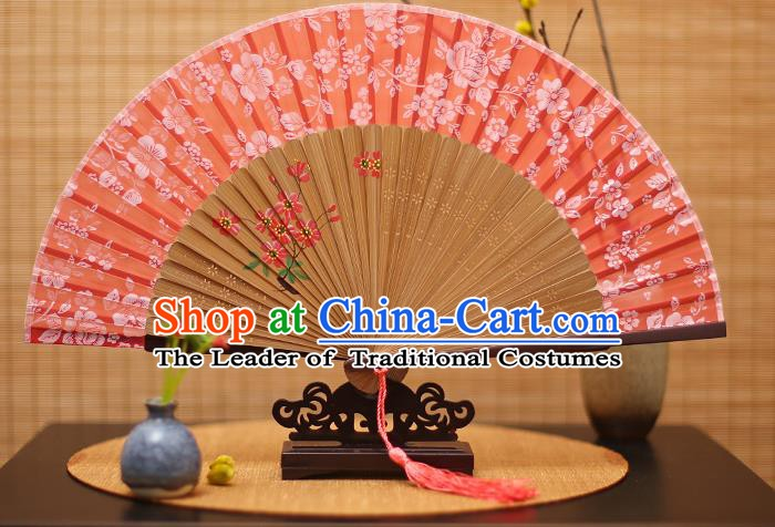 Traditional Chinese Crafts Folding Fan, China Printing Flowers Red Silk Fans for Women