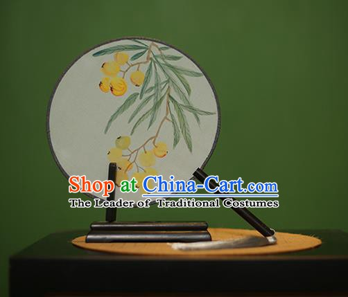 Traditional Chinese Crafts Round Silk Fan, China Palace Fans Princess Printing Fruit Circular Fans for Women