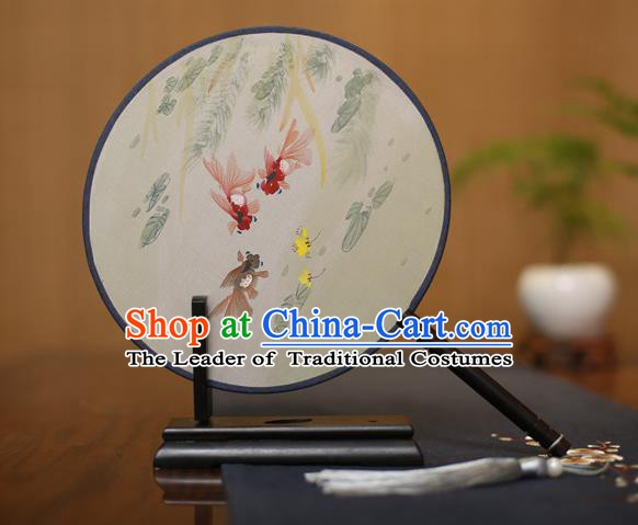 Traditional Chinese Crafts Round Silk Fan, China Palace Fans Princess Printing Goldfish Circular Fans for Women