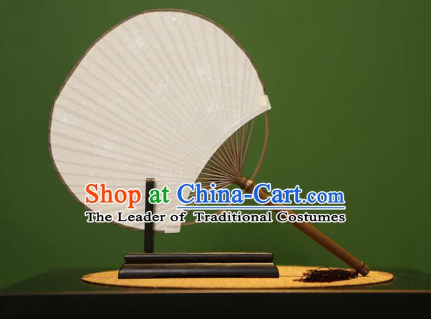 Traditional Chinese Crafts Printing Xuan Paper Fan, Chinese Art Paper Palace Fans Bamboo Handle Fans for Women